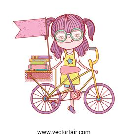 cute girl with books in bike with flag cartoon