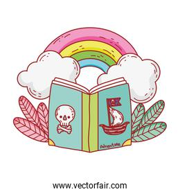 book of pirates rainbow clouds plants cartoon