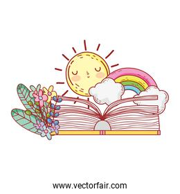 open book rainbow clouds sun flowers foliage