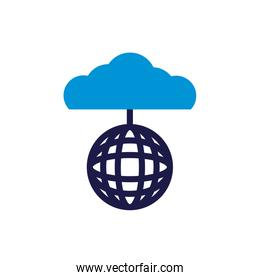 cloud computing with sphere browser lineal color style
