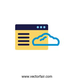 cloud computing with webpage template lineal color style