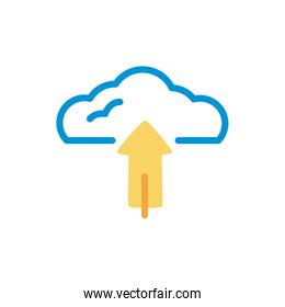cloud computing with arrow upload lineal color style