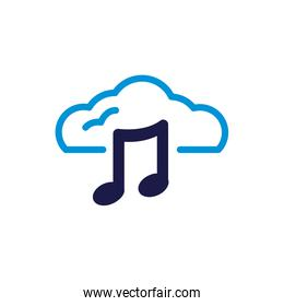 cloud computing with music notes lineal color style