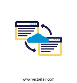 cloud computing with webpage templates lineal color style