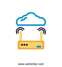 cloud computing with router lineal color style