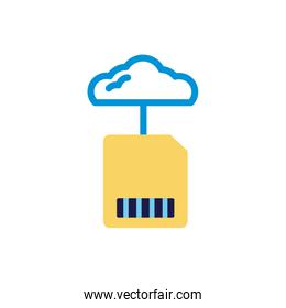 cloud computing with sd card lineal color style