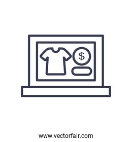 payments online concept, laptop computer with tshirt and money coin icons on screen, line style