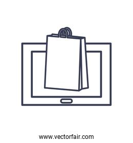 payments online concept, computer with shopping bag icon, line style