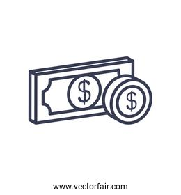 money bill and coin icon, line style
