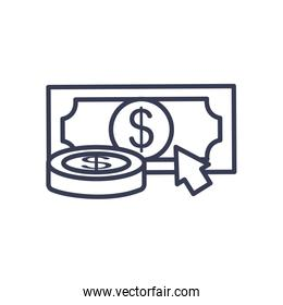 money coin and bill with cursor icon, line style