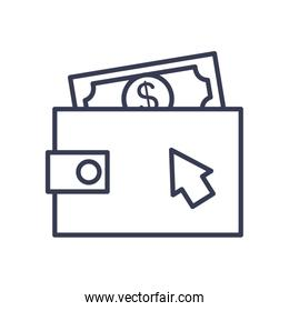 wallet with money bill icon, line style