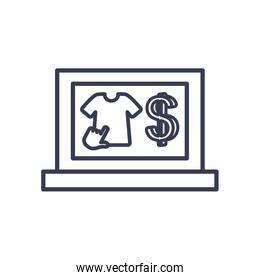 payments online concept, laptop computer with tshirt and money symbol icon, line style