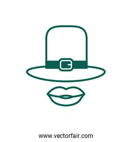leprechaun hat accessory with female lips line style