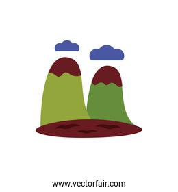 mountains with snow flat style icon