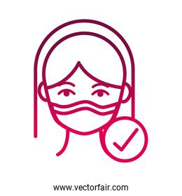 wearing protective mask medical prevent spread of covid19 gradient icon