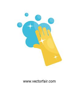 cleaning glove and soapy water icon, flat style