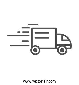 fast truck transport cargo shipping related delivery line style icon