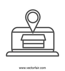 laptop location box cargo shipping delivery line style icon