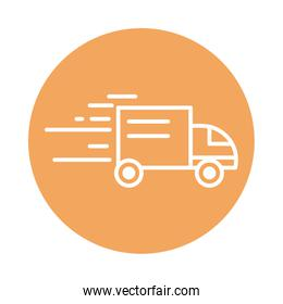 fast truck transport cargo shipping related delivery block style icon