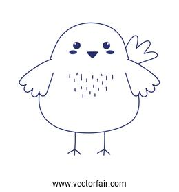 cute chicken animal cartoon isolated icon design line style