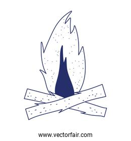 camping bonfire wooden isolated icon design line style