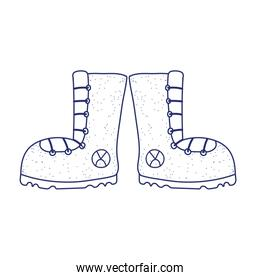 camping boots footwear accessory isolated icon design line style