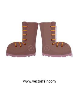 camping boots footwear accessory isolated icon design