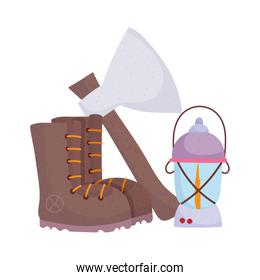camping boot axe and lantern cartoon isolated icon design