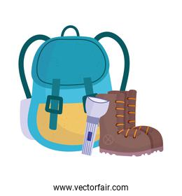 camping backpack boots and flashlight equipment cartoon