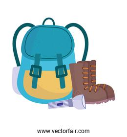 camping rucksack boots and flashlight equipment cartoon