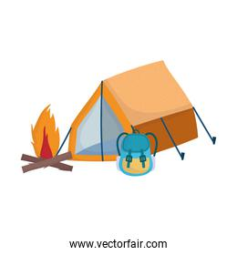 camping tent rucksack bonfire cartoon isolated icon design