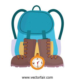 camping backpack boots and compass equipment cartoon