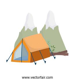 camping tent and mountains nature isolated design