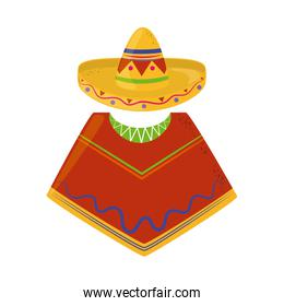 poncho and hat traditional cinco de mayo mexican celebration flat style icon