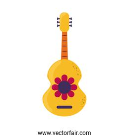 guitar with flower musical instrument cinco de mayo mexican celebration flat style icon