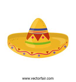 traditional hat cinco de mayo mexican celebration flat style icon