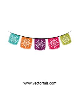 flowers pennants decoration cinco de mayo mexican celebration flat style icon