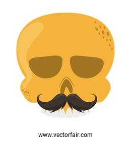 skull with mustache cinco de mayo mexican celebration flat style icon