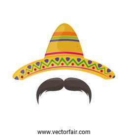 hat and mustache cinco de mayo mexican celebration flat style icon