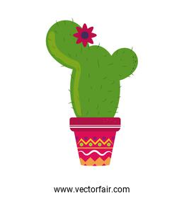 cactus with flower in pot cinco de mayo mexican celebration flat style icon