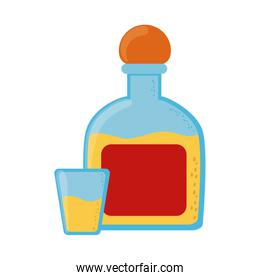 tequila bottle and shot beverage cinco de mayo mexican celebration flat style icon