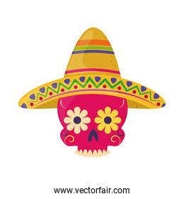 skull with hat decoration cinco de mayo mexican celebration flat style icon