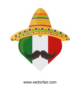 mexican flag shaped heart with hat and mustache cinco de mayo celebration flat style icon