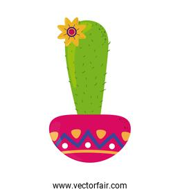 cactus and flower in pot decoration cinco de mayo celebration flat style icon