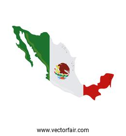 mexican flag in map cinco de mayo celebration flat style icon
