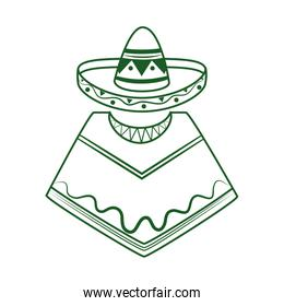 poncho and hat traditional cinco de mayo mexican celebration line style icon