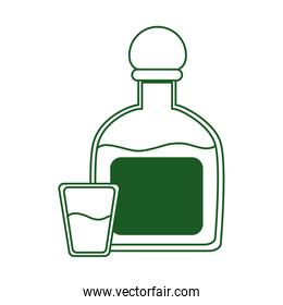 tequila bottle and shot beverage cinco de mayo mexican celebration line style icon