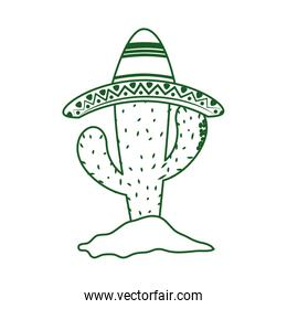 cactus with hat in sand cinco de mayo mexican celebration line style icon