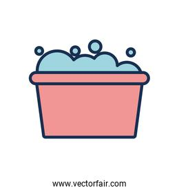bucket with soapy water icon, line fill style