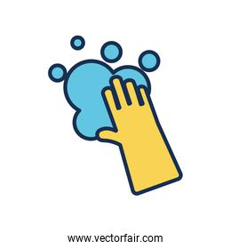 cleaning glove and soapy water icon, line fill style
